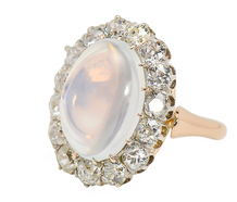 Edwardian Super Moonstone Diamond Halo Ring