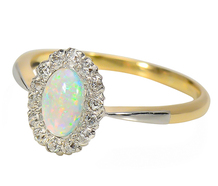 Prismatic Opal & Diamond Halo Ring