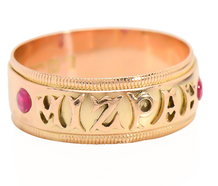 English Mizpah Ring with Rubies