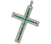 Devotional Emerald Diamond Cross Pendant