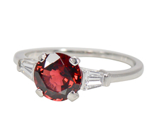Mid-Century Wine Red Spinel Diamond Ring