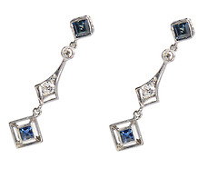 Vanity Flair: Sapphire Diamond Platinum Earrings