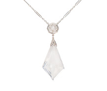 Rock Crystal & Diamond Art Deco Necklace