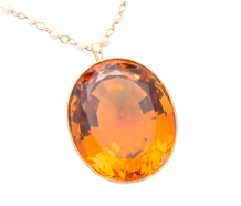Orange Glow - Citrine Pendant & Pearl Set Chain