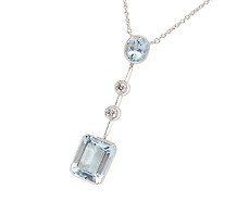 Vintage Aquamarine & Diamond Necklace