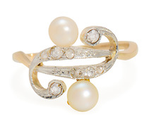 Sleek & Chic: Edwardian Diamond Pearl Swirl Ring
