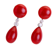 Most Prized: Red Coral Diamond Earrings
