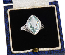 Vintage Marquise Cut Aquamarine Ring