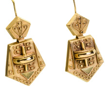 Archaeological Revival Gold Earrings