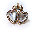 Antique Double Moonstone Heart Ring