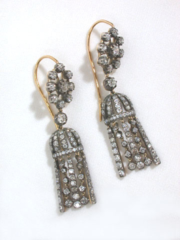 Antique Diamond Tassel Motif Earrings