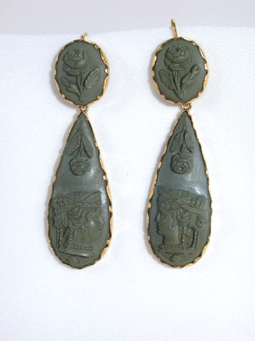 A Grecian Rose - Georgian Lava Cameo Earrings
