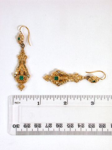 French 19th C. Gold Lyre Motif Earrings