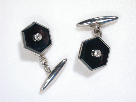 Not Just Black & White: Hematite & Diamond Cufflinks