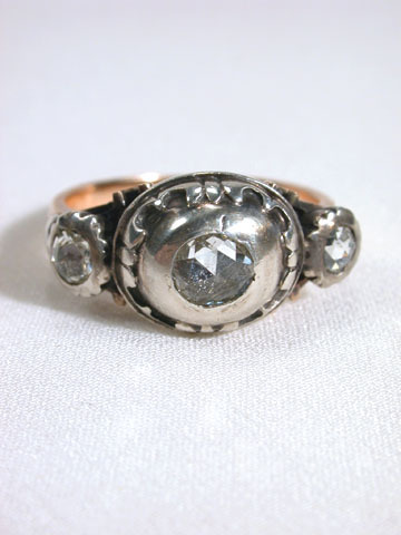 Three Domed Rose Cut Diamond Ring