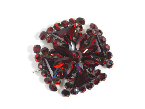 Victorian Vauxhall Glass Maltese Cross Brooch