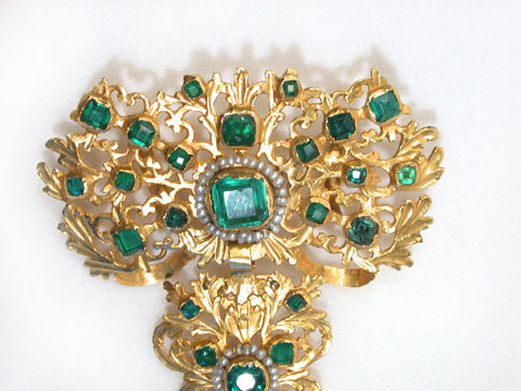 Gold & Paste 18th C. Stomacher Pendant