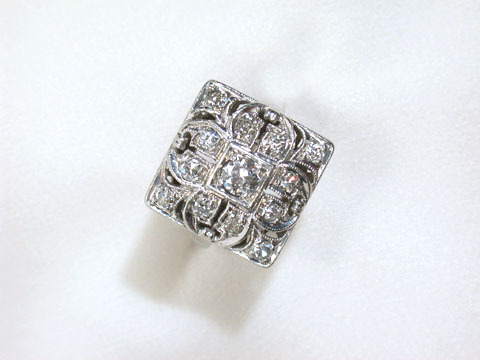 Squared Away - Art Deco Diamond Ring