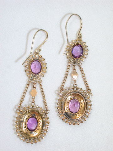 Seductive Georgian Antique  Amethyst Earrings