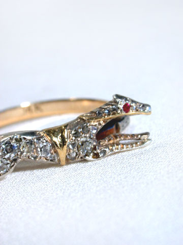 Antique Diamond Greyhound Dog Ring