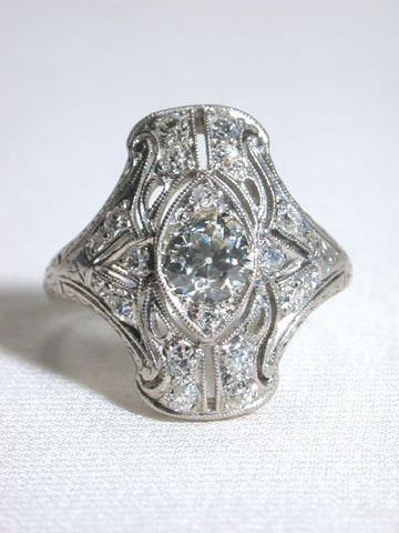 Sinuous Antique Edwardian Diamond Ring