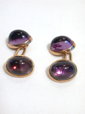 Antique Edwardian Cabochon Amethyst Cufflinks
