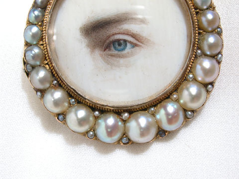 Enigmatic Lover's Eye Miniature Portrait Brooch