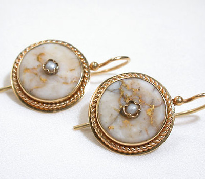 Unique American Gold Quartz Earrings