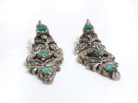 Antique Georgian Emerald & Diamond Earrings