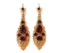 Liquid Fire - Georgian Gold Garnet Earrings