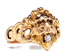 Art Nouveau Bejeweled Chimera Ring