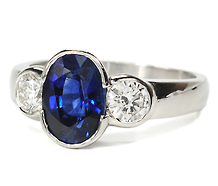 Nature's Alchemy: Sapphire Diamond Platinum Ring