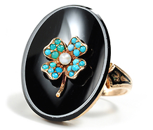Be Mine: Victorian Onyx & Turquoise Ring