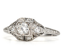Glittering Art Deco Diamond Platinum  Ring