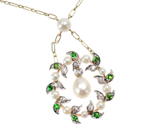 Edwardian Springtime: Pearl Demantoid Necklace