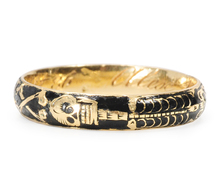 Antique Gold Memento Mori Skeleton Ring of 1747