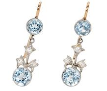 Platinum Blossoms: Vintage Aquamarine Earrings