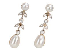 Art Deco Mabe Pearl Diamond Earrings