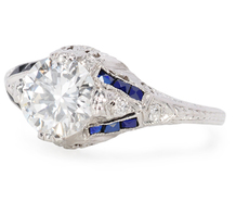 Great Love: Art Deco Diamond Sapphire Ring