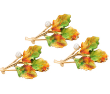 Three Enamel Oak Leaf Brooches