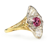 Antique Pink Spinel Diamond Ring