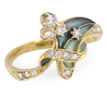 Sensuality Unfolded: Diamond Enamel Foliate Ring