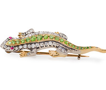 Victorian Gem Encrusted Lizard Brooch
