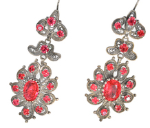 Power of Pink - Paste Set Pendant Earrings