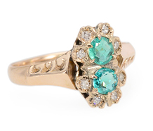 Antique Double Cluster Emerald Diamond Ring
