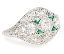 Burst of Color: Vintage Diamond Emerald Ring