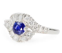 Midnight Blue Sapphire Diamond Estate Ring