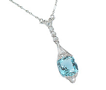 Estate Necklace of Aquamarine & Diamonds
