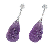 Marvelous Intricately Carved Amethyst Earrings
