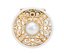 Estate Diamond & Pearl Dress Clip Brooch